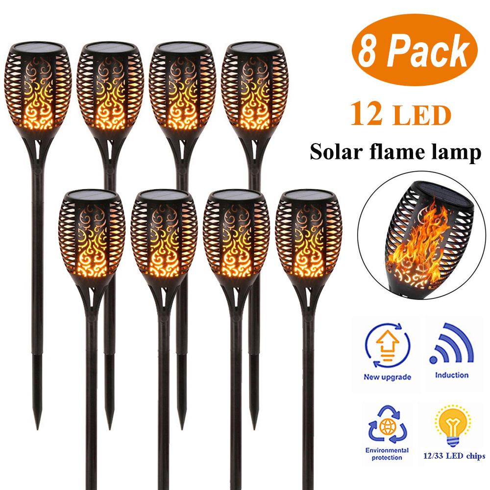 4Pcs OR 8Pcs 12/33LED Waterproof Flickering Flame Solar Torch Light Garden Lamp Outdoor Landscape Decoration Garden Lawn Light