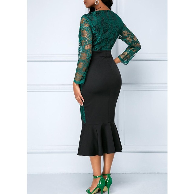 Autumn Winter Dress Women 2019 Casual Plus Size Slim Office Bodycon Dresses Vintage Elegant Sexy Lace Long Mermaid Party Dress 3