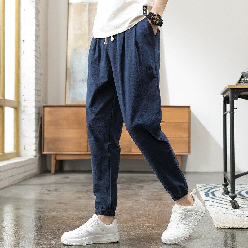 Cotton Linen Casual Harem Pants Men Joggers Man Summer Trousers Male Hip hop Baggy Sport Pants 2020 pantalon