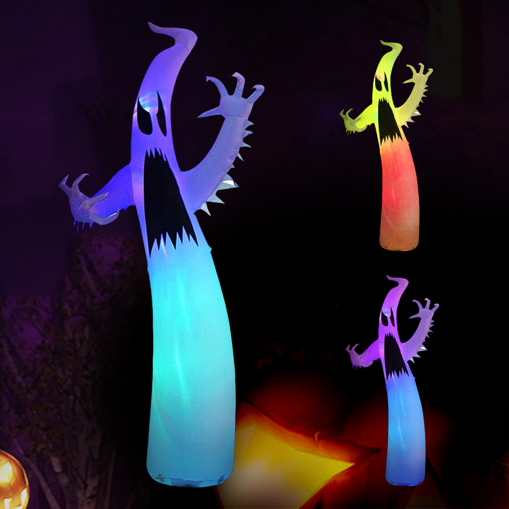 Huge 3.6M Halloween Inflatable Creepy Ghost Horrific Specter Pillar Indoor Outdoor Toys Lawn Blow Up Haunted House Party Display