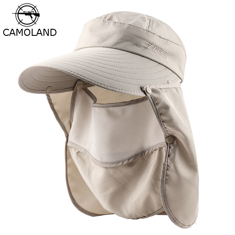 CAMOLAND Outdoor Sun Hat For Women Visors Hat UV Protection Caps Female Camping Face Neck Cover Bucket Hat Casual Sunscreen Cap