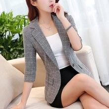 2020 Korean Plaid Women Blazer Short Coat Casual Retro Suit