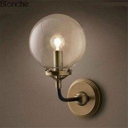 Szkło vintage kinkiet przemysłowe Loft kinkiet ściany światła do salonu sypialni regulowany kinkiety ścienne oprawy oświetleniowe do domu E27