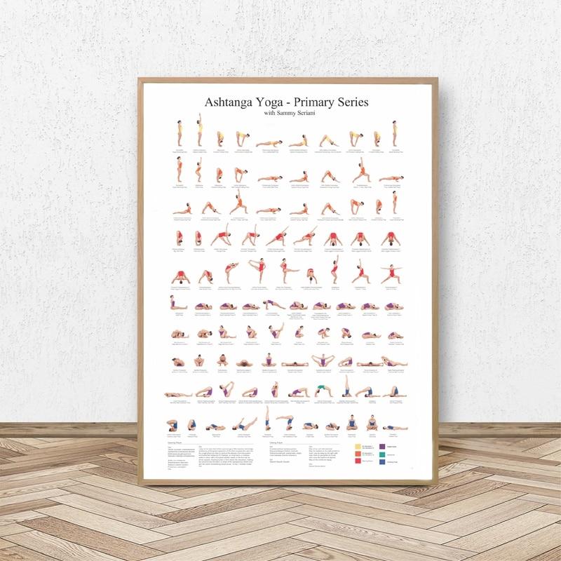 Ashtanga Primäre Serie Yoga Poster Leinwand Kunstdrucke Yoga Zimmer Wand Kunst Dekor Mädchen Fitness Geschenke Gym Kunst Malerei Dekoration