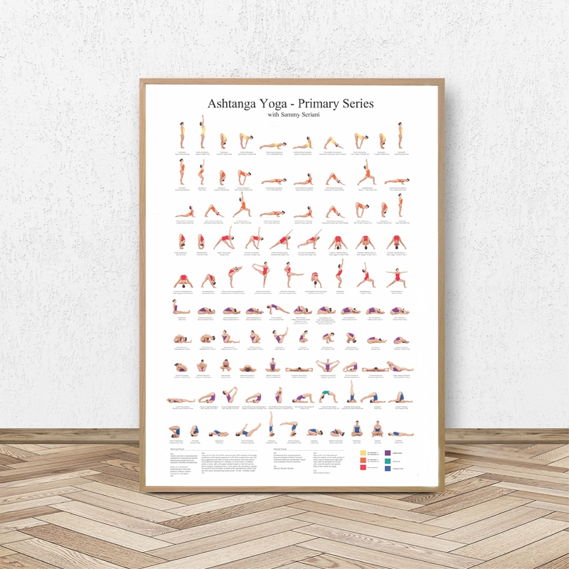 Ashtanga Primary Series Yoga Poster Canvas Art Prints Yoga Room Wall Art Decor Girls Fitness Gifts Gym Art Painting Decoration