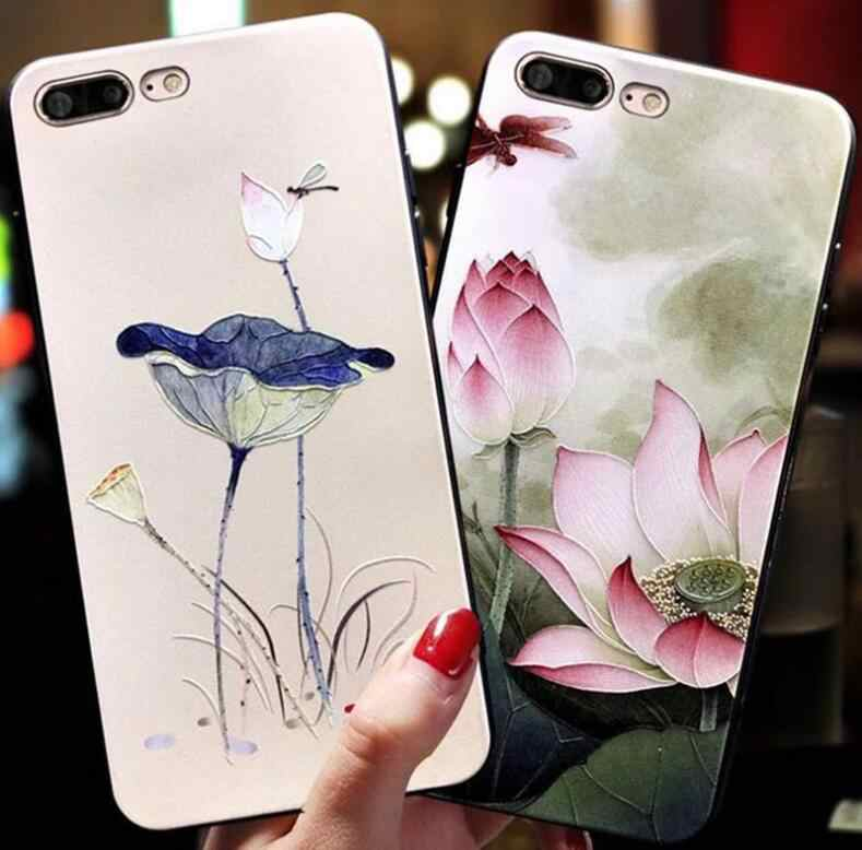 For iPhone 4 4S 5 5S SE 6 6S 7 8 Plus Case 3D Lotus leaf lotus Emboss Soft TPU Silicone Cover on for iPhone X XR XS MAX case