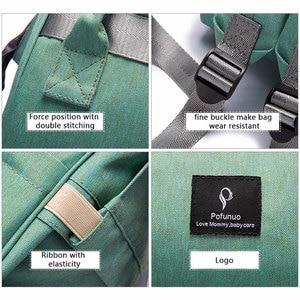 Image 5 - Bebek bezi çantası sırt çantası USB portu bebek çantası büyük bebek çantası anne için kanca ile bebek bezi değiştirme analık çanta Bebe organizatör çantası