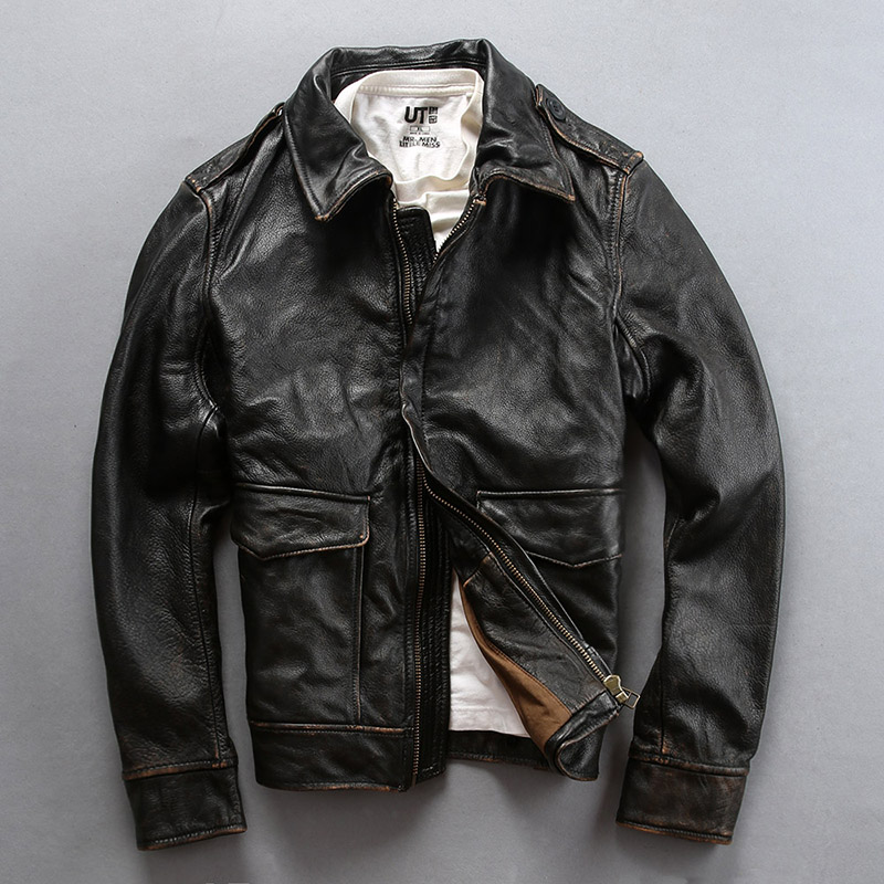AVFLY 2019 New Men Vintage Black Motorcycle Leather Jacket Fashion first layer Cow Leather Lapel Riding Biker Russia Winter Coat