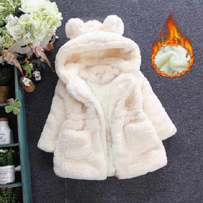 Menoea Meisjes Jassen Fashion Winter Warm Verdikking Kids Uitloper Leuke Ear Kapmantel Meisjes Kostuum Solid Kinderen Kleding