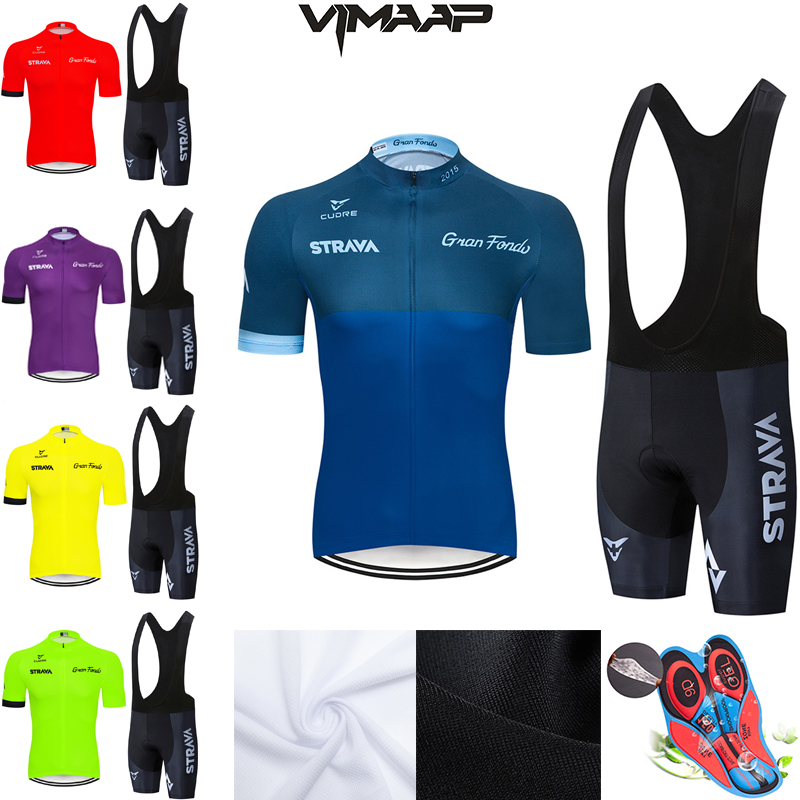 2020 STRAVA Pro Team Summer Cycling Jersey Set Bicycle Clothing Breathable Men Short Sleeve Shirt Bike Bib Shorts 9D Gel Pad