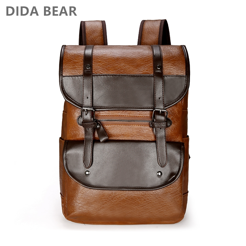 DIDA BEAR  Men Backpack Leather Bagpack Large Laptop Backpacks Male Mochilas Retro Schoolbag For Teenagers Boys Travel Bag