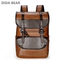 DIDA BEAR hommes sac à dos en cuir sac à dos grand sacs à dos dordinateur portable homme Mochilas rétro cartable pour adolescents garçons sac de voyage