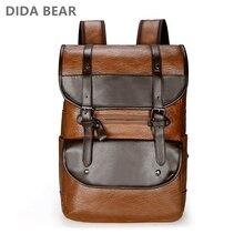 Dida bear 남자 배낭 가죽 bagpack 대형 노트북 배낭 남성 mochilas 레트로 schoolbag 청소년 소년 여행 가방