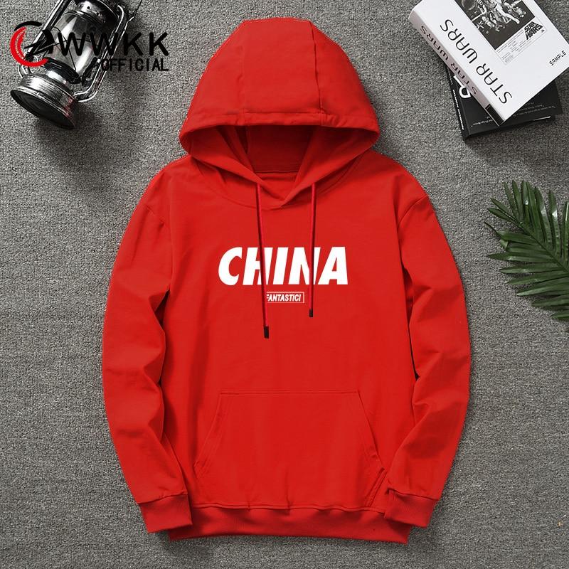 WWKK CHINA red hoodies women men printed 2020 Social Long Sleeve hoodies pants set Funny tshire tops Unisex Tracksuit Sweatshirt