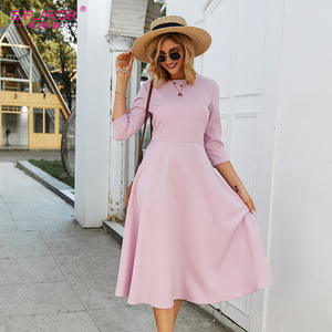Image 2 - S.FLAVOR Для женщин светло фиолетовый платье трапециевидной формы платье элегантное платье с рукавом три четверти Повседневное платье без рукавов для женщин сезон: весна–лето вечерние платья