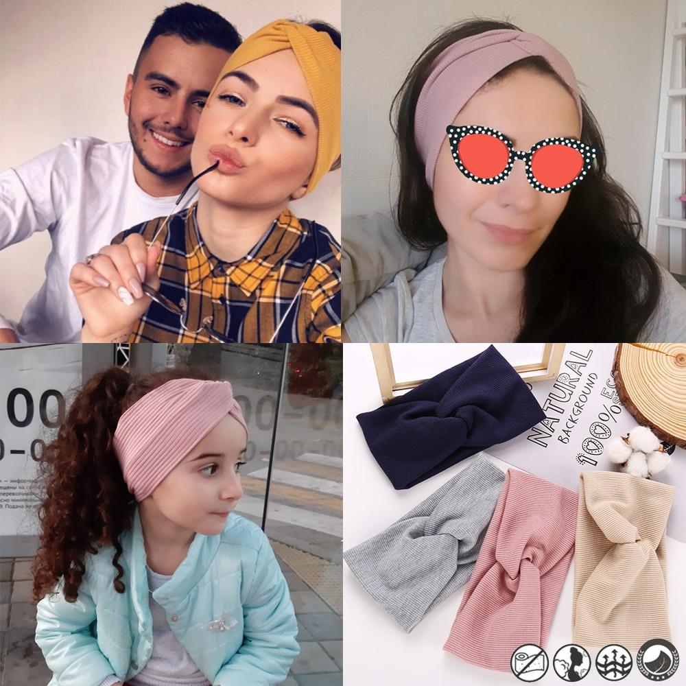 17KM 13 Color Cotton Headband For Women Girl Baby Headband 2019 Elastic Knot Headbands Twist Fashion Cross Hair Accessories