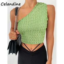 Celandine Sexy Women Casual Green Knitted Summer 2021 One Shoulder Club Crop Tops Party Sleevless Skinny Mini Tank Tops