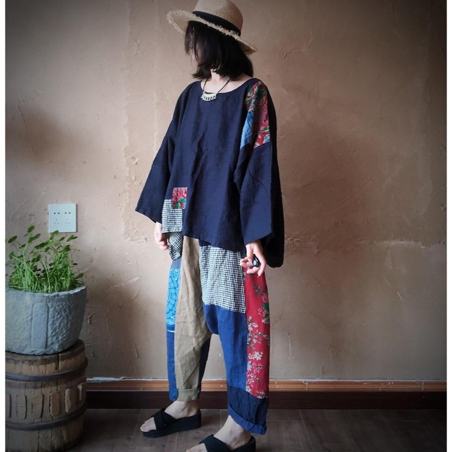 Women Linen  Patchwork Plus Size Blouse Tops Ladies Vintage Flax Spliced Oversize Shirts Female 2020 Summer Autumn Blouses 7