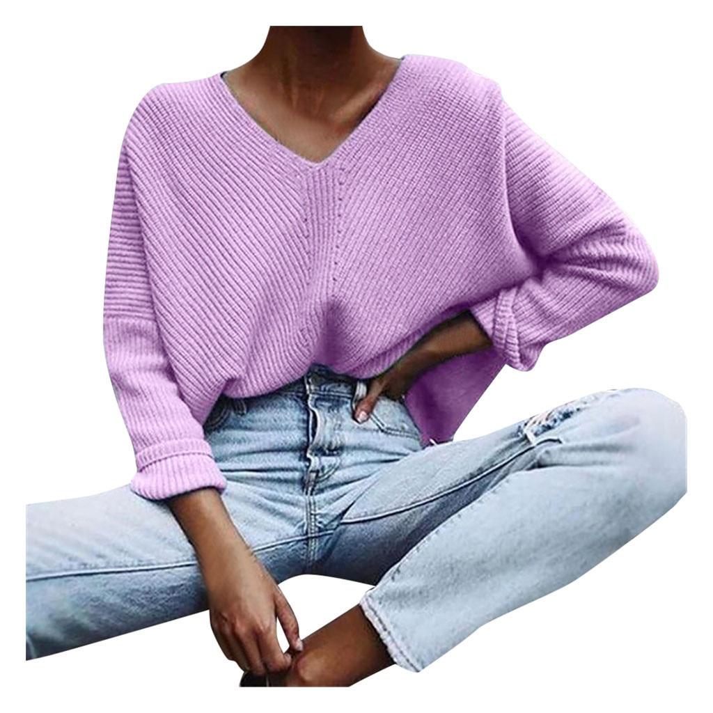 Used Trui Women Streetwear V -neck Long Mouwen Truien Casual Loose Effen Jas 2019 Retrieved Winter Jumper Pull Femme Z0826