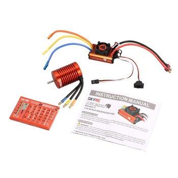 SKYRC SK-300042-02 9T 4370KV Brushless Motor 60A Brushless ESC Programming Card Combo Set for 1/10 RC Car Truck