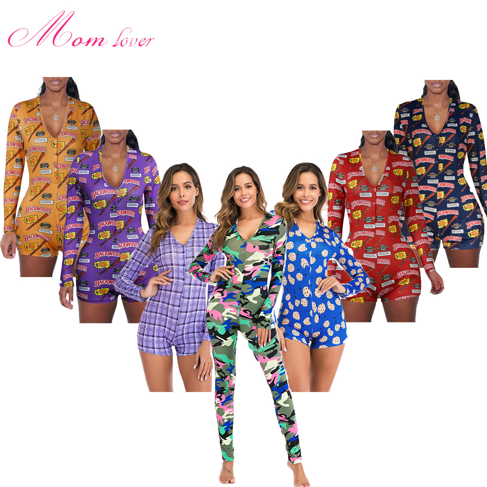 Sexy Women Onesie Pajamas Romper Backwoods Money Cookie With Long Sleeve V Neck