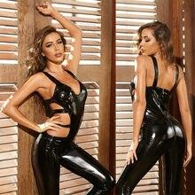 Crotchless Women Leather Jumpsuit Sexy Lingerie Female Bodysuit Erotic Latex Catsuit Double Zipper Open Crotch Bodycon Leotard