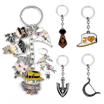 JOJOs Bizarre Adventure Keychain Kujo Killer Queen Arrow Key Chains Metal Pendant Keyrings Creative Anime Trinket Car Keyholder