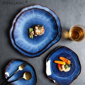 Dish-Dinnerware Dishes Flat Plate Pottery KINGLANG Japanese Ceramic Irregular Wholesale