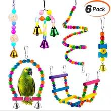 6PCS Parrot toys Birds Toys Swing Bird Chewing Toys Birds Cage Toys funkadelic funkadelic toys