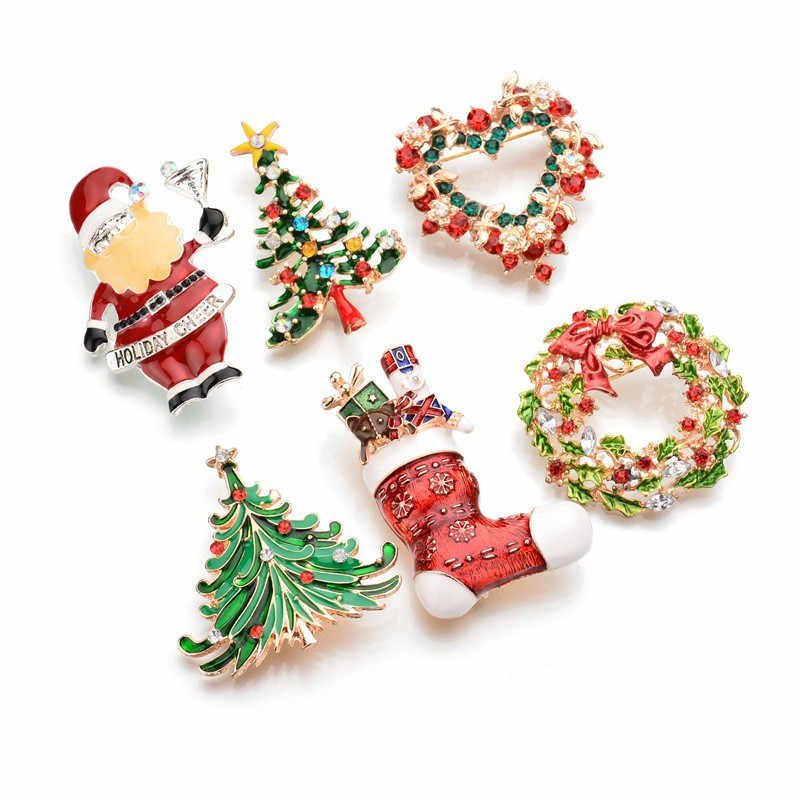 Christmas Tree Santa Claus Brooches Heart Flower Christmas Snowflake Brooch Rhinestone Brooch Pin Jewelry Women Best Gift