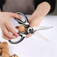 Tesoura de cozinha ferramenta multifuncional aço inoxidável corte carne, legumes, ferramenta para churrasco tesoura cozinha suprimentos