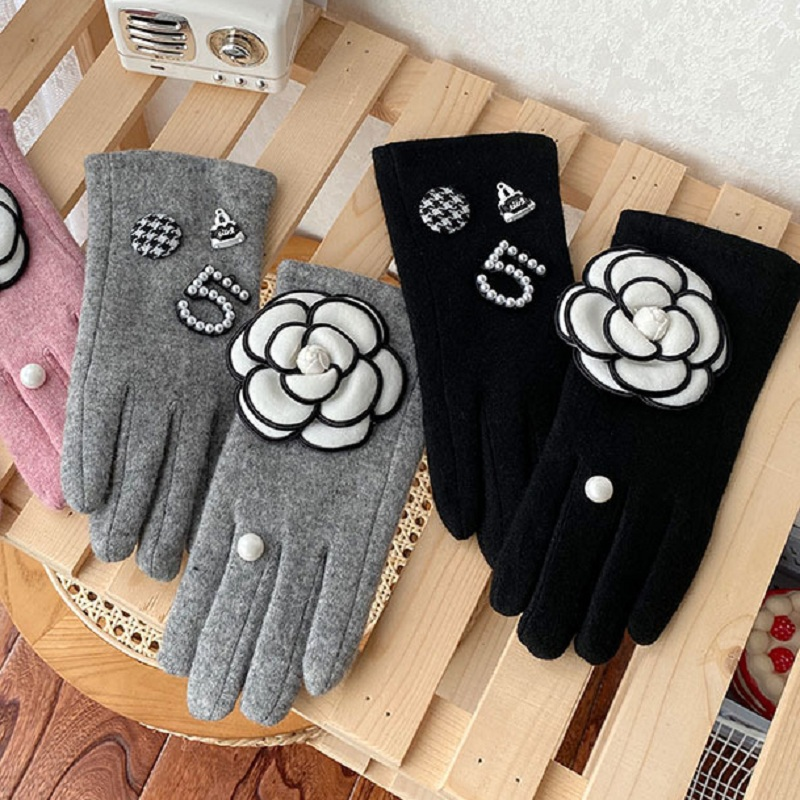Stylish Winter Gloves for Women Classic Brand Black Pink Cashmere Touch Screen Gloves Female Thick Mitten Driving Gloves Guantes