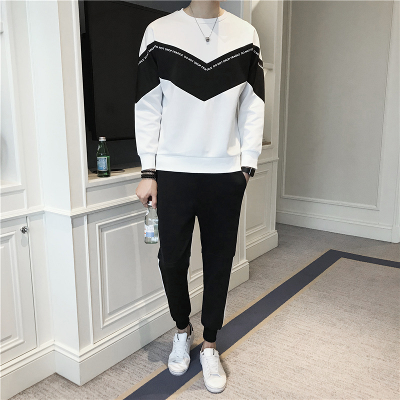 2019 Spring And Autumn New Style BOY'S Popular Brand Casual Sports Fashion Set Youth Fashion Mixed Colors Hoodie Two-Piece Set M