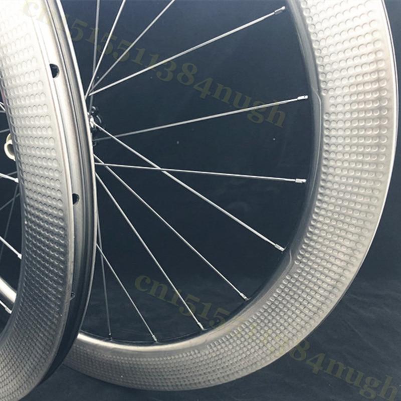 404 New 58mm Carbon-Wheels Disc-Brake Clincher Tubeless Disk Dimple 45mm 303  Novatec 411 Axle Hubs Wheelset
