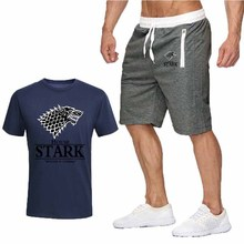 Sportsuits Set Men 2019 White Wolf Head Brand Fitness Suits Summer  Top Short Mens O Collar Fashion 2 Pieces T-shirt Shorts