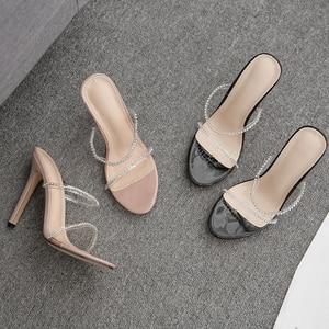 Image 5 - Kcenid 2020 nova moda pvc cristal gladiador mulher chinelos de salto alto strass cinta sapatos femininos sexy boate festa sapatos
