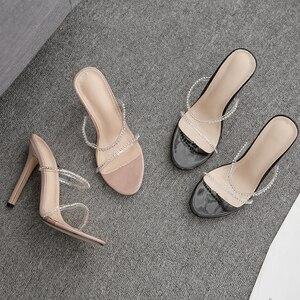 Image 5 - Kcenid 2020 새로운 패션 pvc 크리스탈 검투사 여성 슬리퍼 하이힐 라인 석 스트랩 여성 신발 섹시한 나이트 클럽 파티 신발