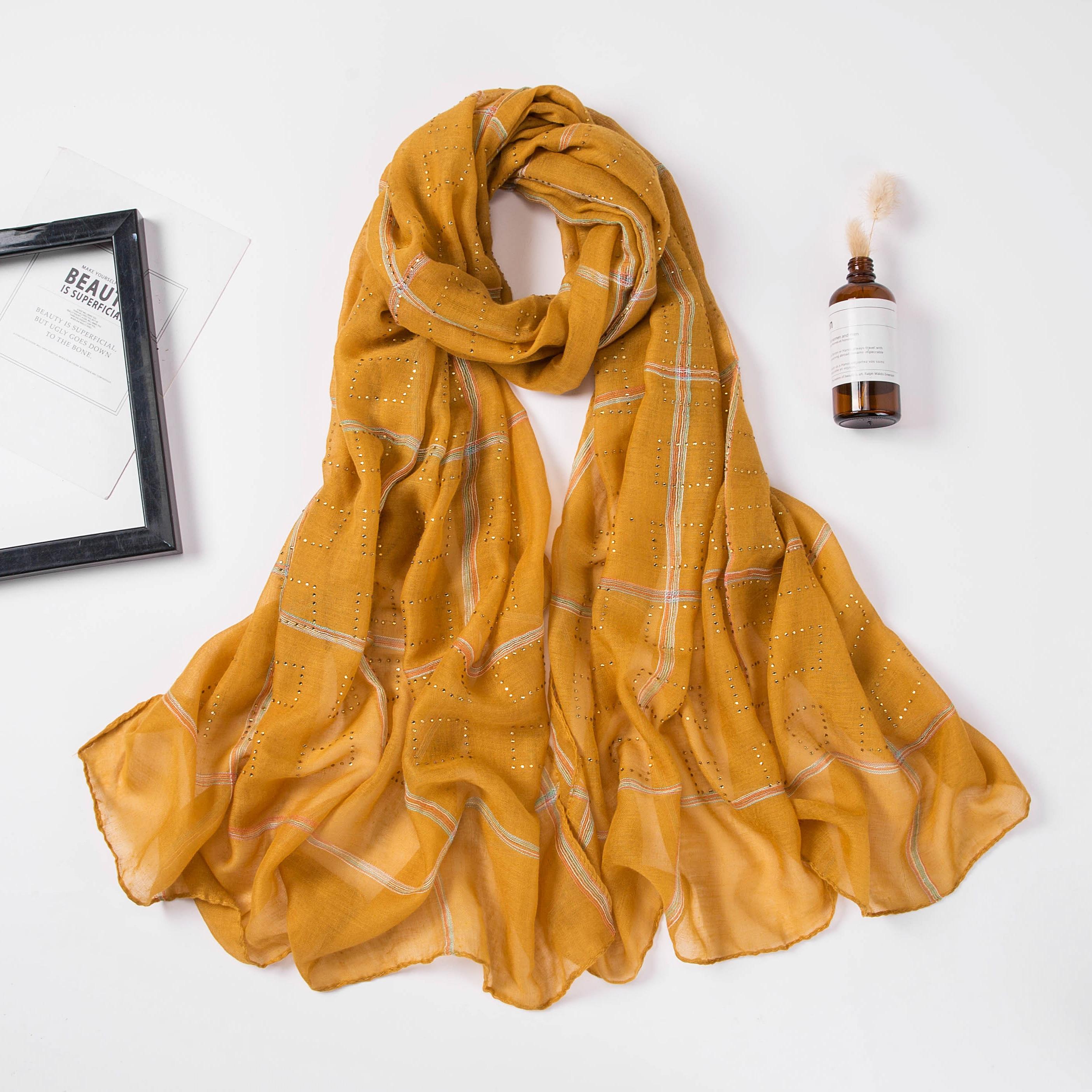 Image 5 - 1 pc nouveau diamant écharpe coton doux hijab écharpe châle  brillant enveloppe Viscose femmes musulmanes foulard islamique hijab  châles et enveloppeFoulards