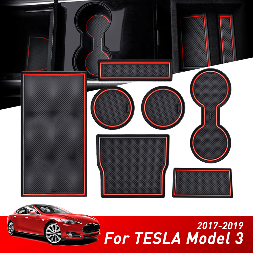 7pcs For Tesla Model 3 2019 2017 2018 Auto Accessories Car Console Wrap Mat Non-Slip Gate Slot Center Protective Cup Holder Pads