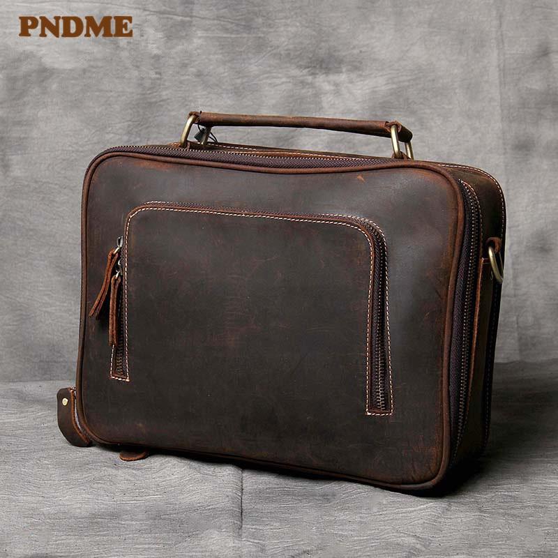 PNDME High Quality Genuine Leather Men's Business Briefcase Office Handmade Crazy Horse Cowhide Vintage Laptop Messenger Bags