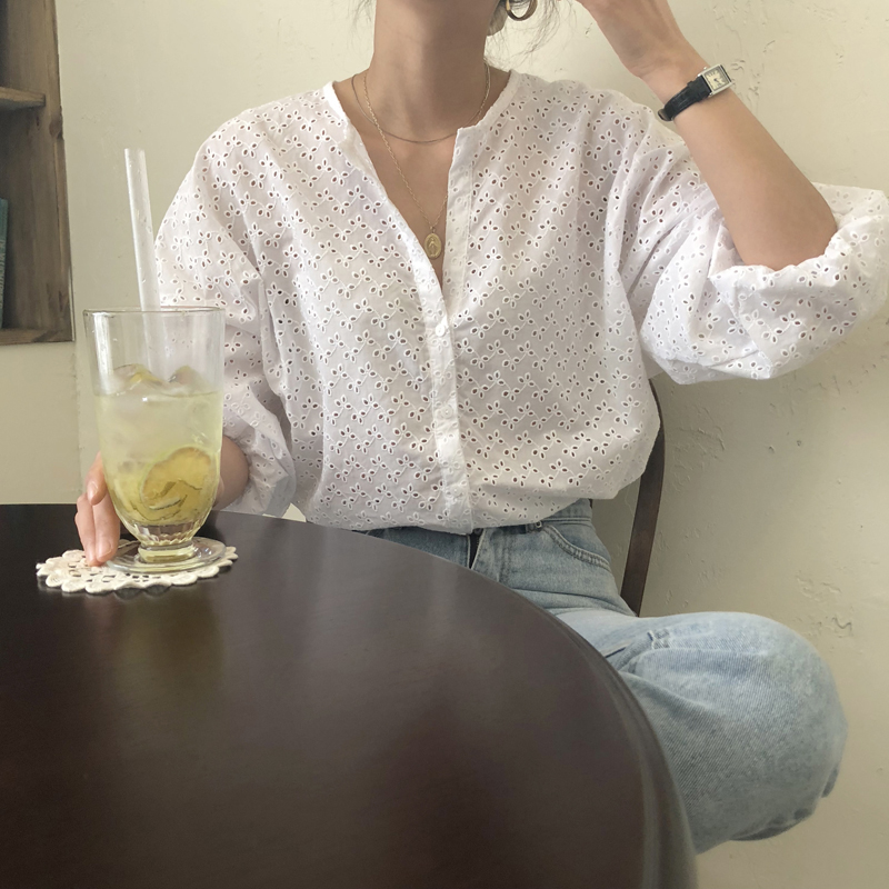 Single Breasted Blouse Women Plus Size O-Neck White Tops Shirt Boho Beach Summer Shirts Hollow Out Crochet Lantern Sleeve W005(China)