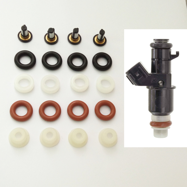 Juego de 4 Kit de reparación de inyector de combustible para coche, para Keihin FJ1203 FJ1045 FJ785 FJ486 16450PWA003 16450 RNA A01, compatible con Honda AY RK068