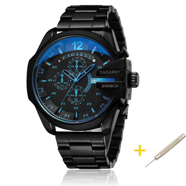 Cagarny Mens קוורץ שעון יד יוקרה ספורט שעוני יד עמיד למים שחור נירוסטה זכר שעונים שעון צבאי Relogio Masculino