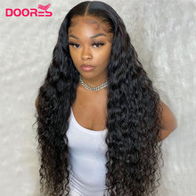 Wig 13x4 Human-Hair-Wigs Doores Water-Wave Lace-Front 250-Density Pre-Plucked T-Part