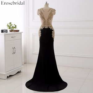 Image 2 - Erosebridal שחור שמלת ערב ארוך 2020 זהב תחרה סקסי לראות דרך חזרה Mermiad נשף שמלה ארוך פורמליות ערב שמלת ארוך רכבת