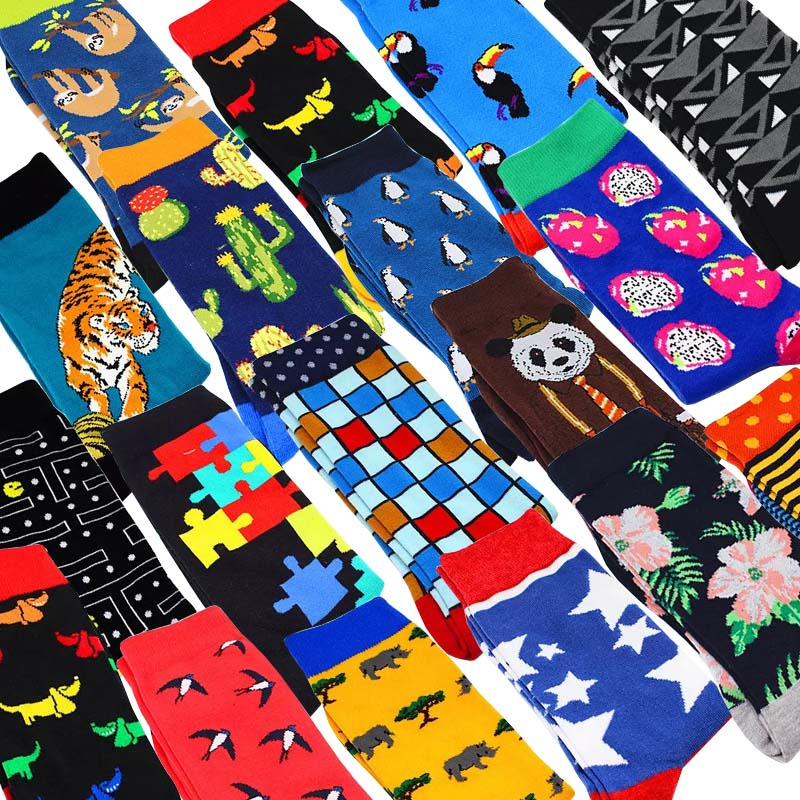 Men Crew Socks Cactus Pattern Hip Hop Happy Art  Cartoon Animal Bird Men Socks Funny Man Casual Harajuku Novelty Calcetines