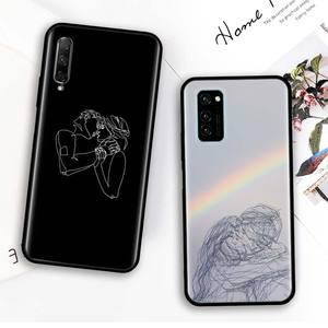 Minimalist Line Couple Kiss Hand Painted Case for Honor 8X 9X 10 Lite 20 Lite 20Pro 20S 8A 2020 20 30 Pro Phone Shockproof Shell