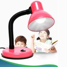 Lámpara LED de escritorio Flexo de hierro Vintage interruptor de botón, guía de luz, protección ocular, lectura, lámparas de mesa, 4 colores