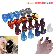 10 stücke gitarre daumen und zeigefinger pick vermittler cellul ul daumen finger abholen gelegentliche farbe gitarre zubehör
