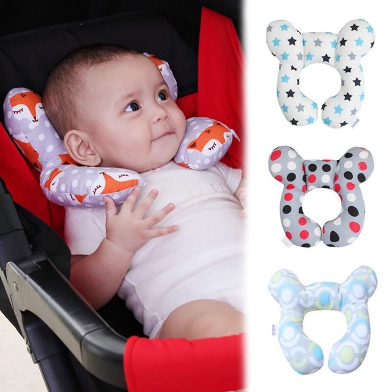 1Pc Soft U Shaped Support Head Neck Baby Kid Pillow Cartoon Bear Shape  Travel Car Seat Cushion Stroller Head Fixed Headrest